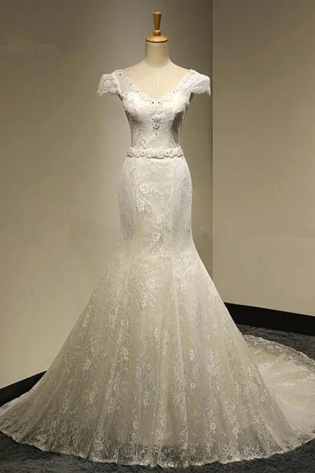 V-Neck Beaded Lace Mermaid Wedding Dress with Cap Sleeves, Lace-Up Back and Long Train
