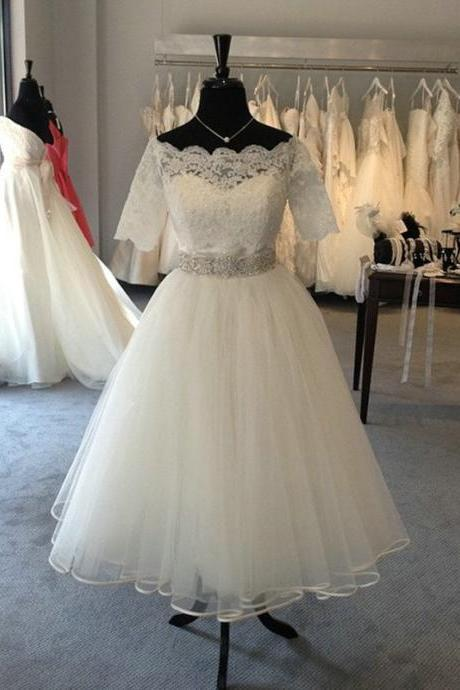 Tea Length Tulle and Lace Wedding Dress,Informal Short Bridal Dress,Custom Half Sleeves Lace Wedding Gown,Off the Shoulder Short Wedding Dress
