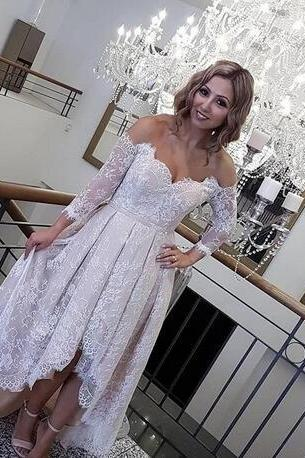 F295 Cheap prom dresses ,Lace High Low Prom Dresses Long Sleeves Off Shoulder Cheap Formal Evening Party Gowns Dress