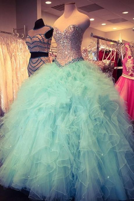 F309 Elegant prom dress,sleeveless tulle ball gown prom dresses,luxury crystal beaded quinceanera dresses
