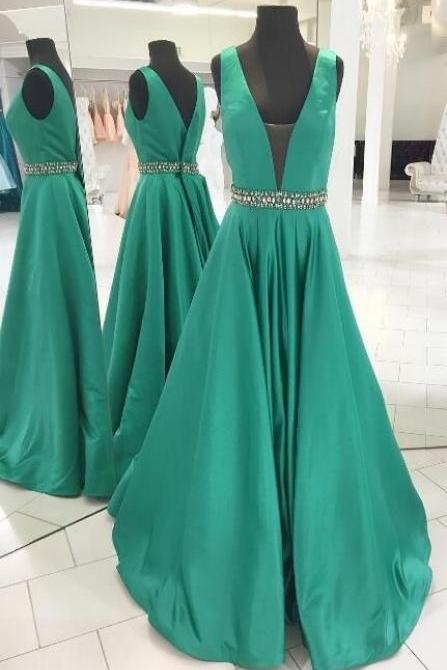 A line V-neckline Green Prom Dress,Elegant V-back Evening Dress,Long Elegant Satin Green Prom Dress,Simple Elegant Long Satin Wedding Party Dress