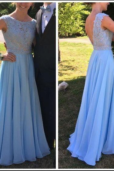 Cap Sleeve A Line Long Chiffon Lace Pink Prom Dress, Baby Blue Prom Dress, Chiffon Prom Dress, Long Prom Dress, Lace and Chiffon Prom Gowns