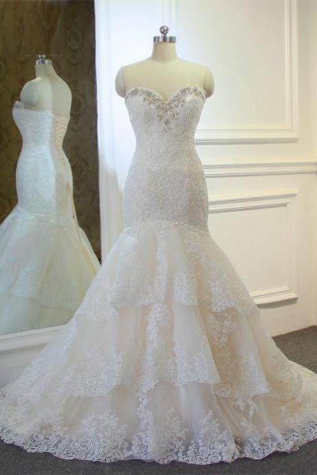 Strapless Sweetheart Lace Beaded Mermaid Wedding Dress with Tiered Ruffled Skirt and Lace-Up Back