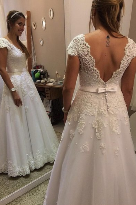 Cap Sleeves Lace Wedding Dress,Custom V-back Lace Bridal Dress,Cap Sleeve A Line Long Lace Wedding Dress