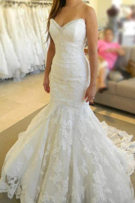 Strapless Sweetheart Lace Appliques Mermaid Wedding Dress