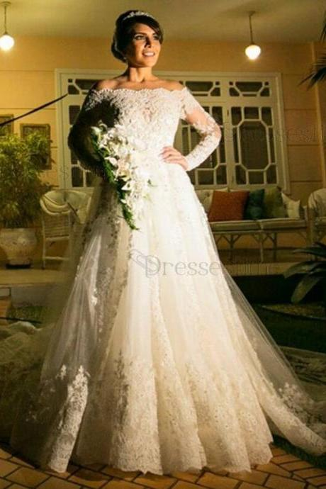 Luxury A-Line Wedding Dress - Off-the-Shoulder Chapel Train Tulle Lace,Off the Shoulder Ball Gown Long Sleeve Lace Wedding Dress,Long Sleeve Bridal Dress