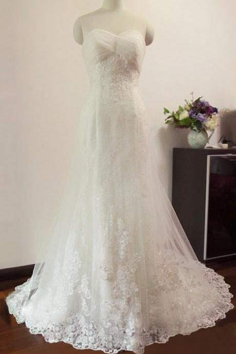Strapless Sweetheart Lace Appliqués Mermaid Wedding Dress with Long Train