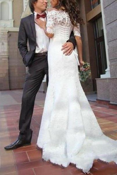 Off-the-Shoulder White Lace Mermaid Wedding Dress, Bridal Gown with Mid-Length Sleeves