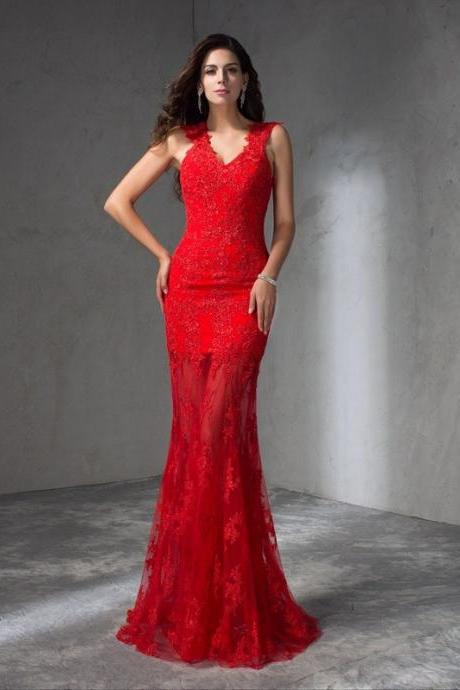 F366 Mermaid V-neck Applique Sleeveless Sweep Brush Train Satin Dresses