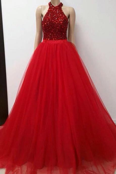 F392 halter prom gowns,crystal beaded prom dress,tulle prom dress,ball gowns prom dresses,long evening dress