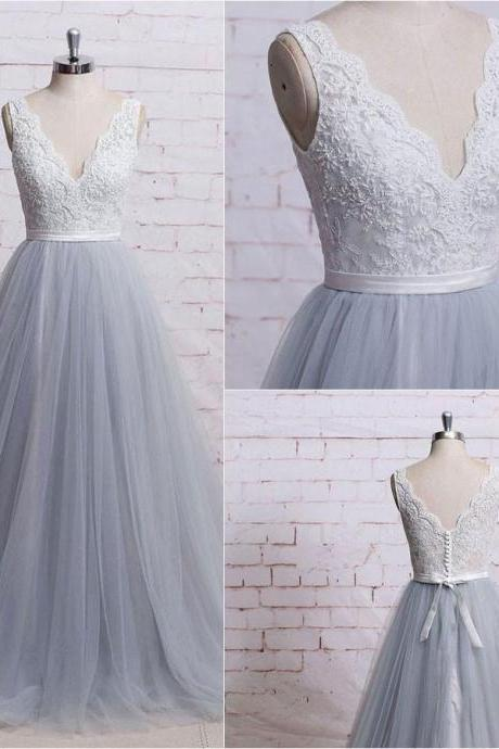F395 Gorgeous A-line V-neck Ivory Lace Bodice Grey Tulle Skirt Chapel Train Wedding Dresses, Long Prom Gowns, Prom Dresses 2018