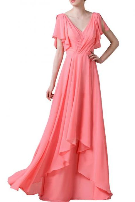 F404 V Neck Cap Sleeve Pink Chiffon Prom Gowns,Layers Fashion Bridesmaid Dresses