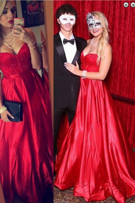 A-Line Sweetheart Sweep Train Red Elastic Satin Prom Dress with Beading