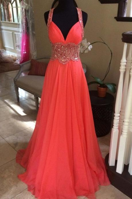 Coral chiffon beading V-neck long dresses,handmade long prom dress,deep v neck long chiffon heavy beading evening dress,long beading prom dress