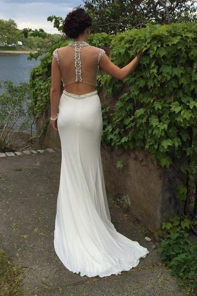 White Sheer Crystal and Pearl Embellished Two-Piece Mermaid Long Prom Dress, Evening Dress