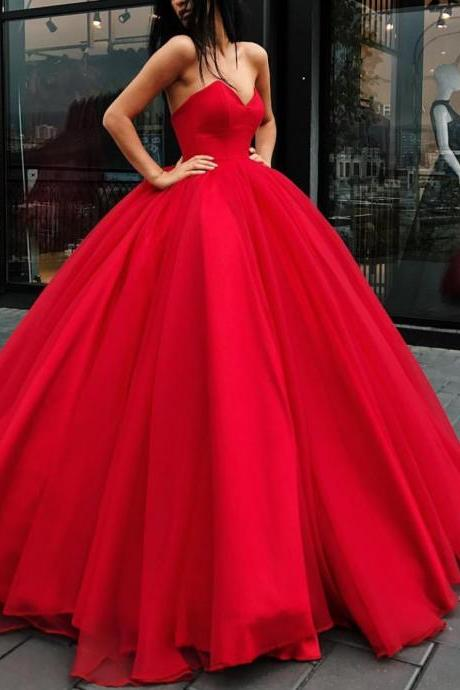 Red Sweetheart Floor Length Ball Gown, Formal Gown, Prom Gown
