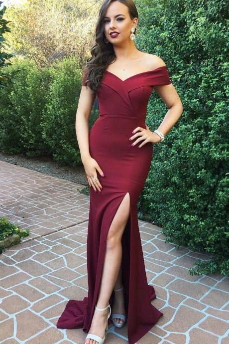 Burgundy Off-The-Shoulder Plunge V Floor Length Formal Dress Featuring Slit, Prom Dress