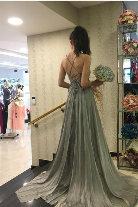 Silver Bridesmaid Dress,Open Back Evening Gowns,Long Prom Gowns,A Line Long Silver Prom Dress,Sexy A Line Elegant Cheap Sexy Prom Dress