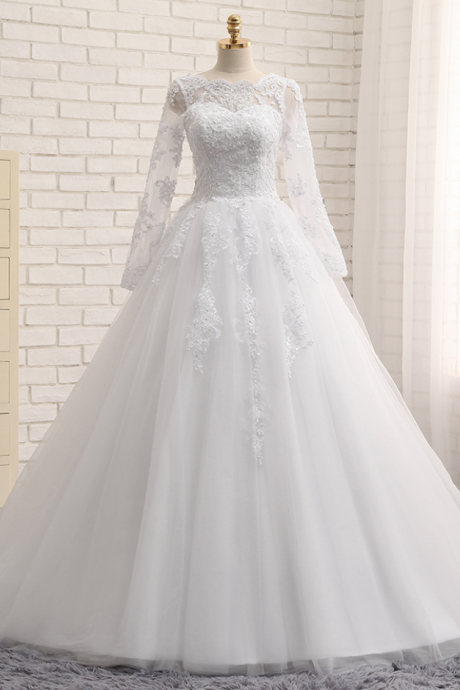 A-Line Wedding Dresses Jewel Chapel Train Long Sleeve Top Applique Sequined Tulle White or Ivory Bridal Gowns,Top Lace Long Sleeves Lace Wedding Dress,A Line Lace Wedding Gown