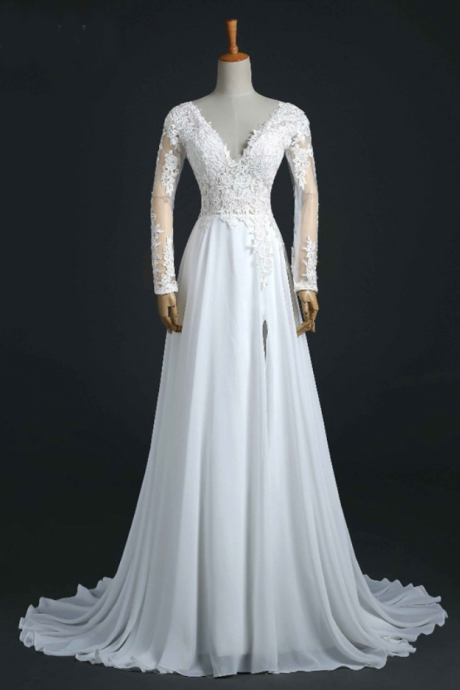 V-Neck Long-Sleeved Lace Appliqués Chiffon A-line Wedding Dress Featuring Open Back