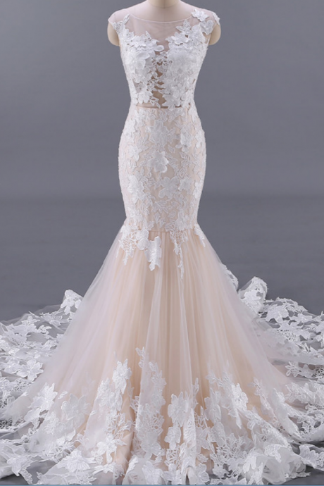 Champagne Scoop Sheer Floral Lace Appliqués Mermaid Wedding Dress Featuring V-Back