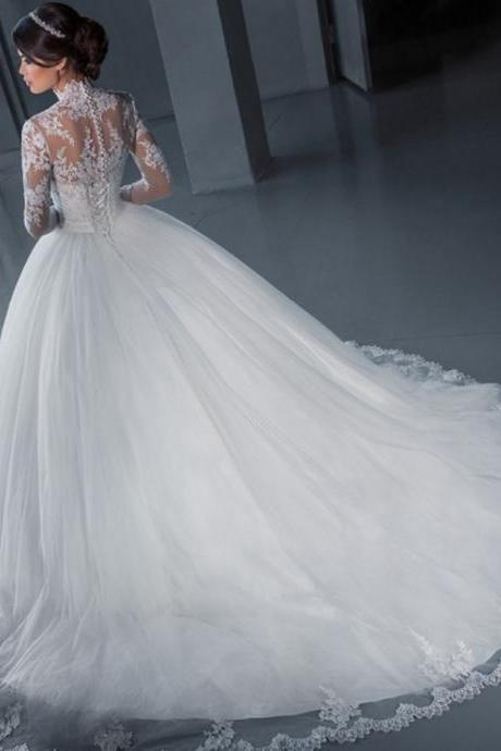 W1197 With Jacket High Neck Long Sleeve Lace Applique Flying Ball Gown Long Train Wedding Dress,Long Sleeves Ball Gown Lace Wedding Dress,Ball Gown Lace Bridal Dress