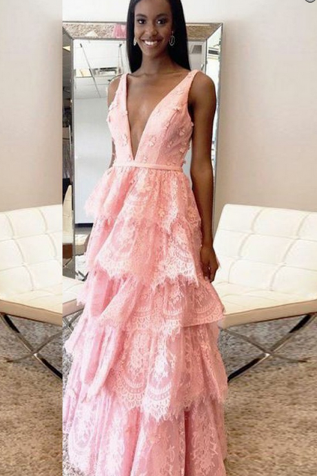 Custom Made Pink Sleeveless V-Neckline Lace Floor Length Evening Dress, Prom Dress with Tiered Ruffles