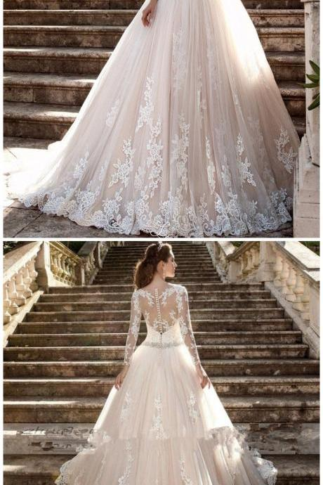 W1223 Lace Bridal Ball Gown White Ivory Wedding Dress Custom Size bridal dresses,Long Sleeves Lace Wedding Dress with Beading Sash,A Line Long Sleeves Lace Wedding Gown