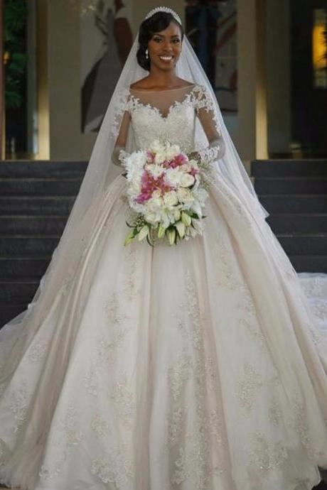 W1245 all Gall Wedding Dresses Sexy Boat Neck Long Sleeves Court Train Lace Applique,Long Sleeves Ball Gown Satin Lace Bridal Dress,Long Satin Ball Gown Long Sleeves Lace Bridal Dress