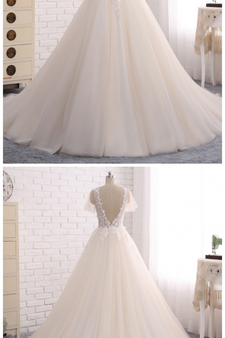 W1249 Wedding Dresses ,With Beading Detachable Train Lace Appliques Sheer Back Bridal Gown Wedding Dress,Cap Sleeve Light Champagne Tulle Wedding Dress