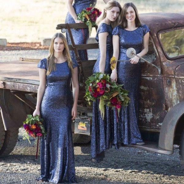 F92 Navy Long Sequins Bridesmaid Dress, 2017 Mermaid Long Bridesmaid Dress, Bridesmaid Dress with Cap Sleeves