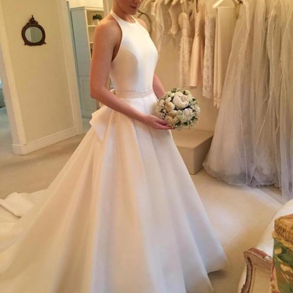 Satin Halter Neck Floor Length A-Line Wedding Dress Featuring Bow Accent Back