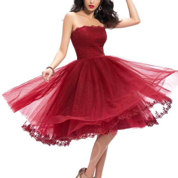 F183 Glamourous Strapless Appliques A-Line Tea-Length Homecoming Dress