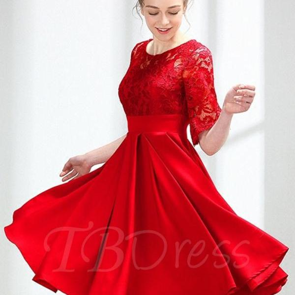 F184 Half Sleeves A-Line Lace Scoop Knee-Length Homecoming Dress