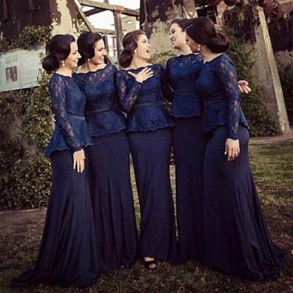 F212 Navy Lace Bridesmaid Dresses Long Sleeves Chiffon For Garden Wedding Spring Cheap Mermaid Adult Brides Maid