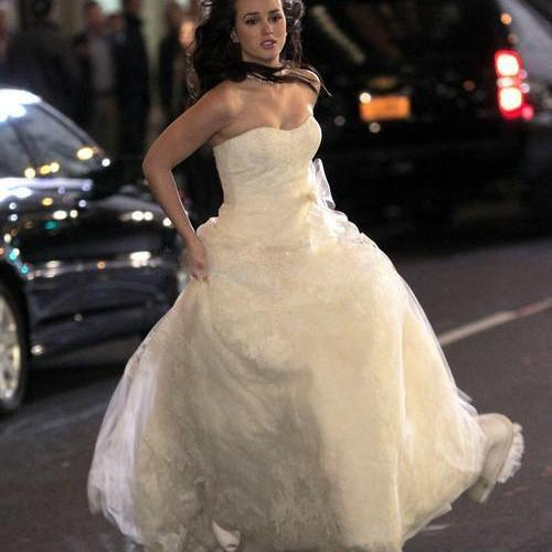 F213 Modern Style Gossip Girl Blair Dress Sexy Strapless White Long Wedding Dress Off The Shoulder Bridal Gowns