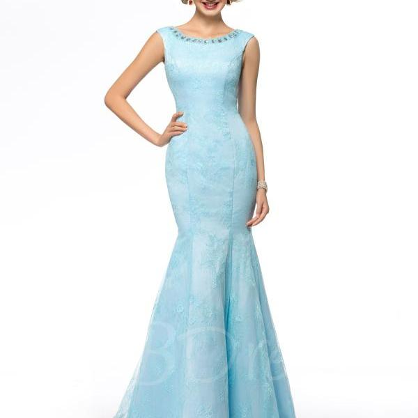F241 Scoop Neckline Beaded Sequins Floor Length Mother of the Bride Dress,Blue Mermaid Bridesmaid Dresses