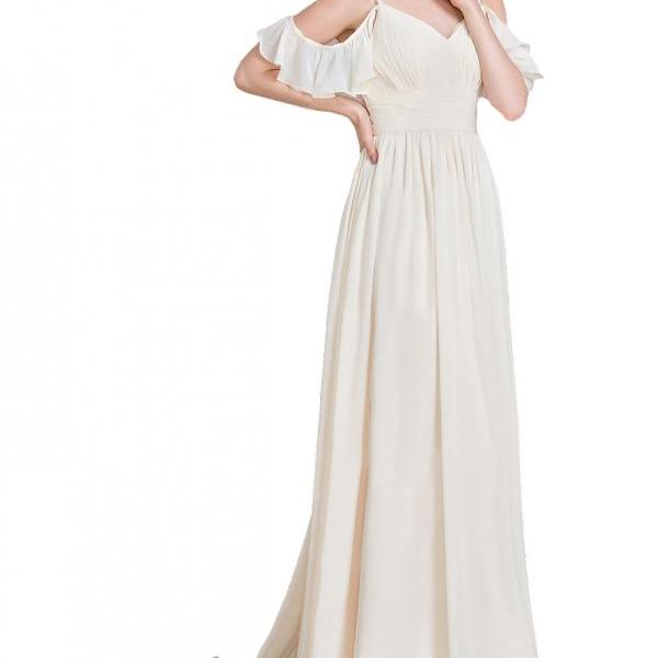 A-Line Princess Floor-Length Chiffon Bridesmaid Dress With Cascading Ruffles,Off the Shoulder Long Chiffon Ivory Prom Dress,Off the Shoulder Spaghetti Straps Long Chiffon prom Dress