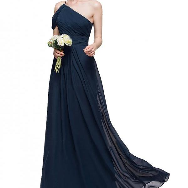 A-Line Princess One-Shoulder Floor-Length Chiffon Bridesmaid Dress With Ruffle,One Shoulder A Line Navy Blue Chiffon Prom Party Dress,One Shoulder Navy Blue Long Chiffon Prom Dress