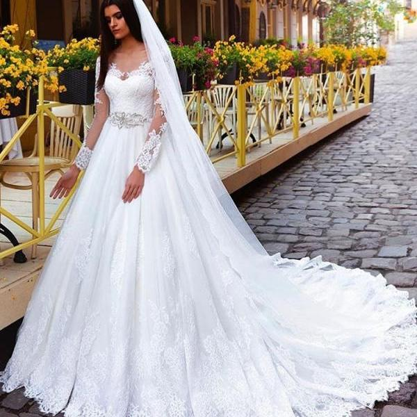 W1220 Crystal Elegant Lace bridal gowns bridal dresses Princess Long-Sleeve Wedding Dresses,Long Sleeves Ball Gown Lace Wedding Dress,Ball Gown Long Sleeves Lace Bridal Dress