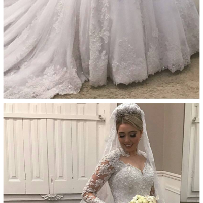 W1222 High Neck Lace Long Sleeves Wedding Dress ,Illusion Back Bridal Gown with Train,Long Sleeves Lace Bridal Dress
